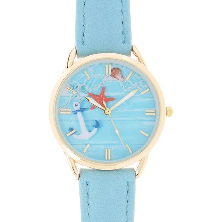Bay Studio Anchor Coastal Dial Blue Strap Watch