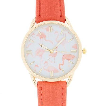 Bay Studio Flamingo Coral Pink Strap Watch