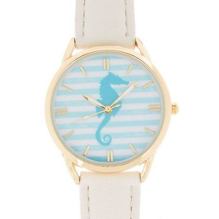 Bay Studio Aqua Seahorse & White Strap Watch