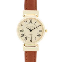 New! Bay Studio Roman Numeral Brown Strap Watch