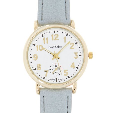 Bay Studio Womens EZ Read Black Strap Watch
