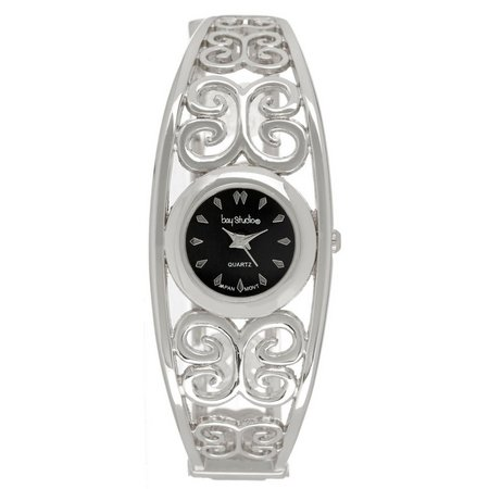Bay Studio Womens Silver Tone Filigree Cuff Watch