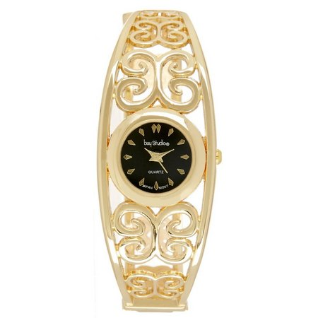 Bay Studio Womens Gold Tone Filigree Cuff Watch