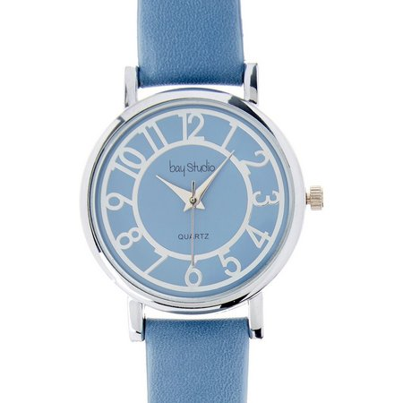 Bay Studio EZ Read Blue Face Strap Watch