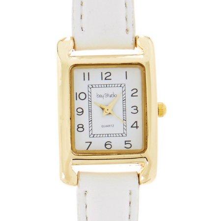 Bay Studio Womens Rectangle White Strap Watch