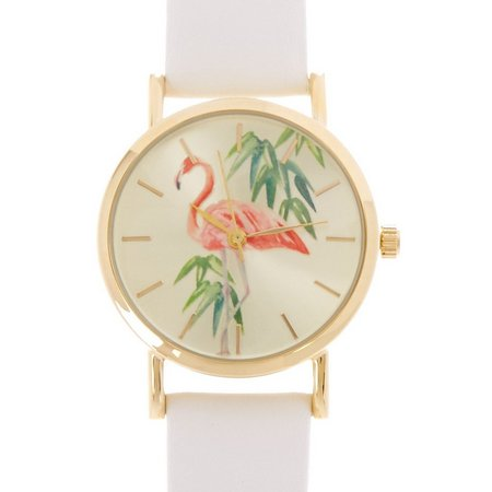 Bay Studio Womens Flamingo White Strap Watch