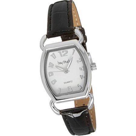 Bay Studio Womens Hinged Silver Tone Strap Watch
