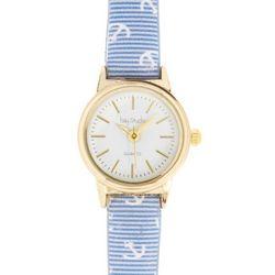 Bay Studio Womens Gold Tone Nautical Print Watch