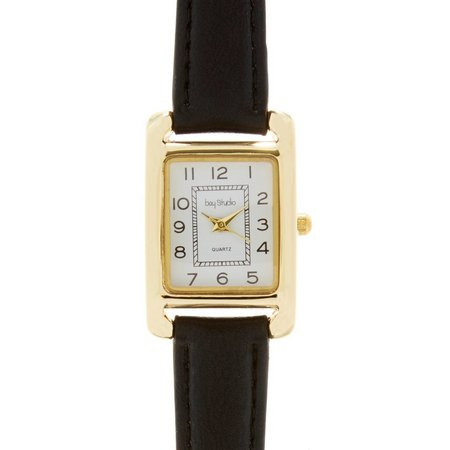 Bay Studio Rectangle EZ Read Black Strap Watch