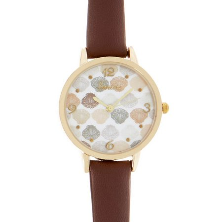 Bay Studio Womens Shell Face Brown Strap Watch