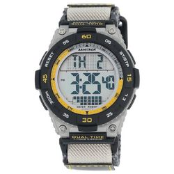 Armitron Mens Grey Dual Time Nylon Strap Watch