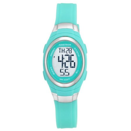 Armitron Womens Aqua Oval Resin Strap Watch