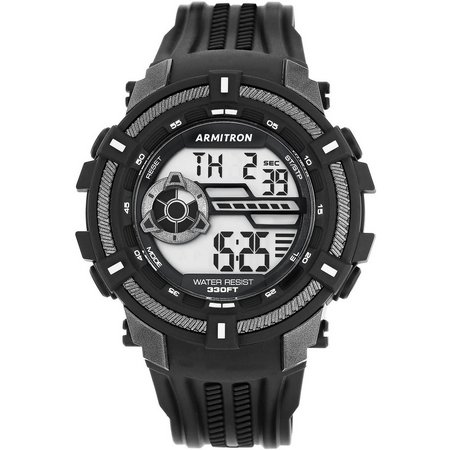 Armitron Mens Black & Grey Resin Strap Watch