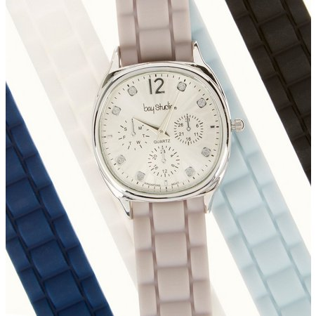 Bay Studio Womens Textured Silicone Watch Set