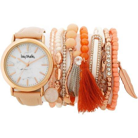 Bay Studio Womens Strap Watch & Bracelet Set