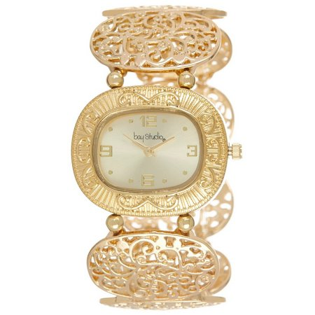 Bay Studio Womens Gold Tone Filigree Watch