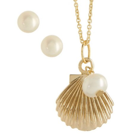 Beach Chic Shell & Faux Pearl Necklace Set