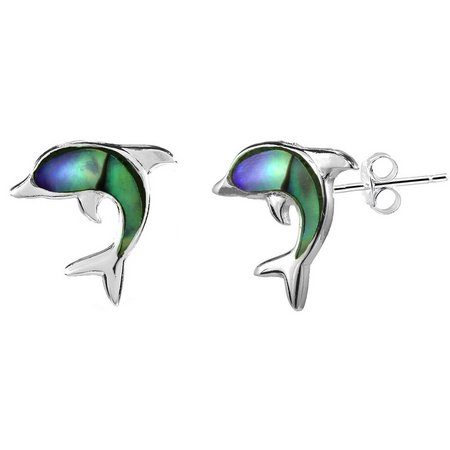 Beach Chic Abalone Dolphin Stud Earrings