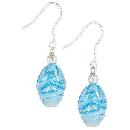 Signature Blue Glass Bead Dangle Earrings