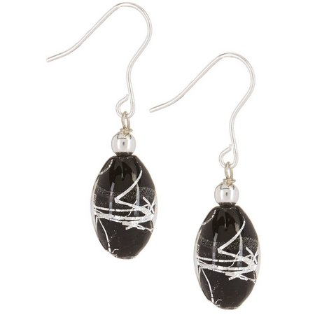 Signature Black Glass Bead Dangle Earrings