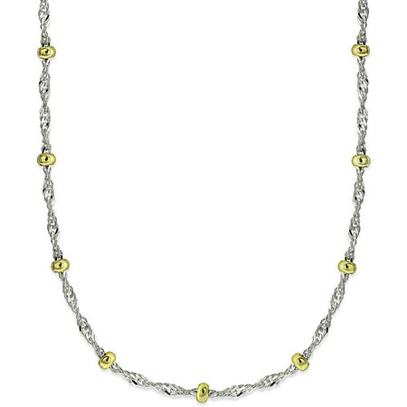 Signature 18 in. Beaded Sterling Silver Necklace