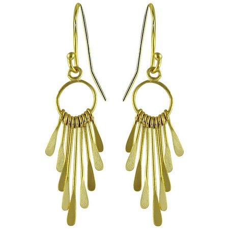 Signature Gold Tone Hoop Stick Dangle Earrings