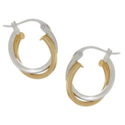 Signature Two Tone Sterling Small Hoop Earrings