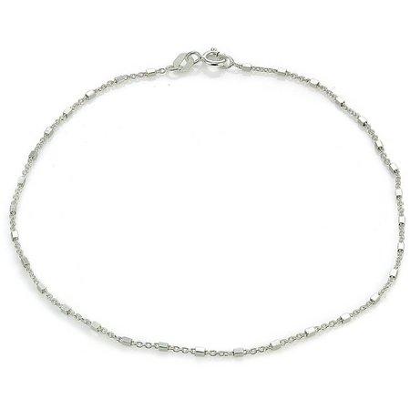 Signature Sterling Silver Square Link Anklet