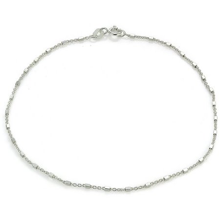 Signature Sterling Silver Square Link Anklet