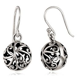 Signature Sterling Silver Filigree Ball Earrings