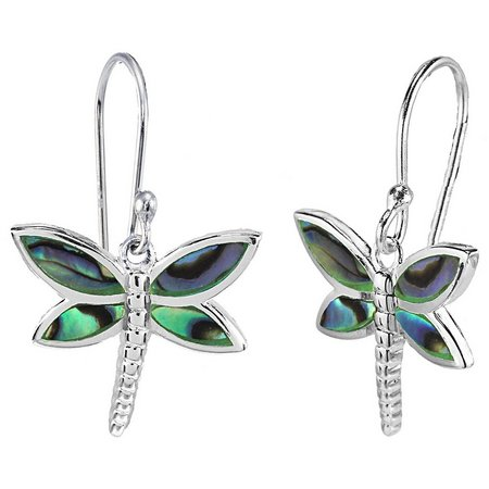 Beach Chic Abalone Dragonfly Dangle Earrings