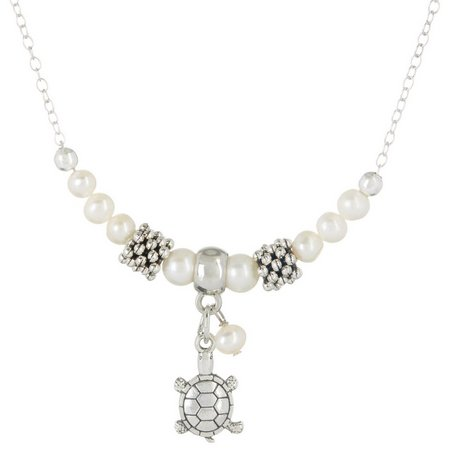 Beach Chic Turtle Charm Faux Pearl Necklace