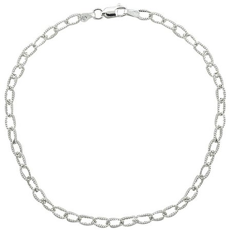Sterling Silver 10 in. Textured Cable Chain Anklet
