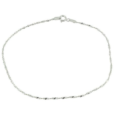 Sterling Silver 10 in. Twisted Singapore Anklet