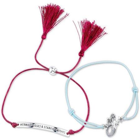 Life's A Beach Mermaid Slider Cord Bracelet Set