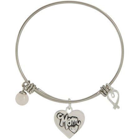 Footnotes Mom Charm Silver Tone Bangle Bracelet