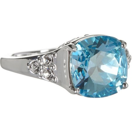 Shine Aqua Blue Crystal Element Ring