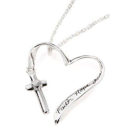 Footnotes Faith Hope Love Heart Cross Necklace