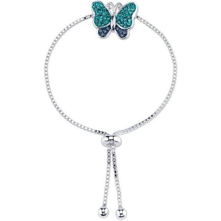 Footnotes Blue Rhinestone Butterfly Slider Bracelet