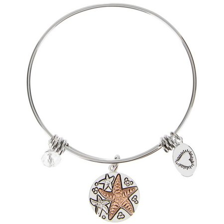 Footnotes Boxed Starfish Two Tone Bangle Bracelet