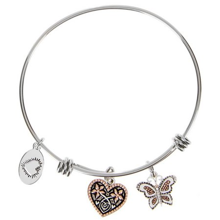 Footnotes Butterfly Sister Charm Bangle Bracelet