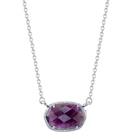 Healing Stone Amethyst Oval Pendant Necklace