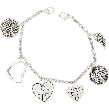 Footnotes Faith Hope Love Charm Dangle Bracelet