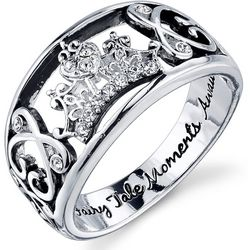 New! Disney Cinderella Crown Crystal Wide Band Ring