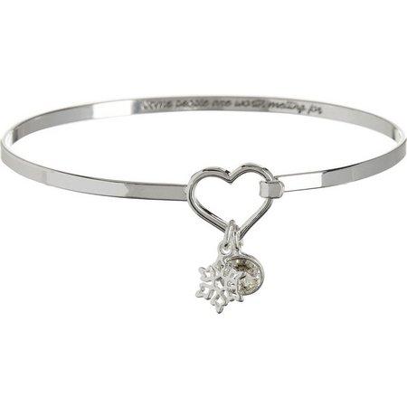 Disney Frozen Snowflake Charm Bangle Bracelet