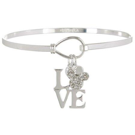 Disney Mickey Mouse LOVE Charm Bangle Bracelet