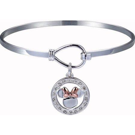 Disney Minnie Mouse Crystal Charm Bangle Bracelet