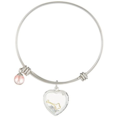 Footnotes You Hold The Key Heart Charm Bangle
