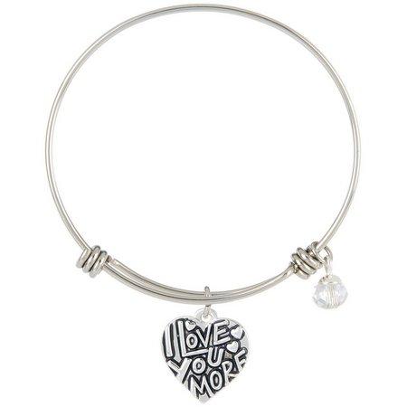 Footnotes I Love You More Charm Bangle Bracelet