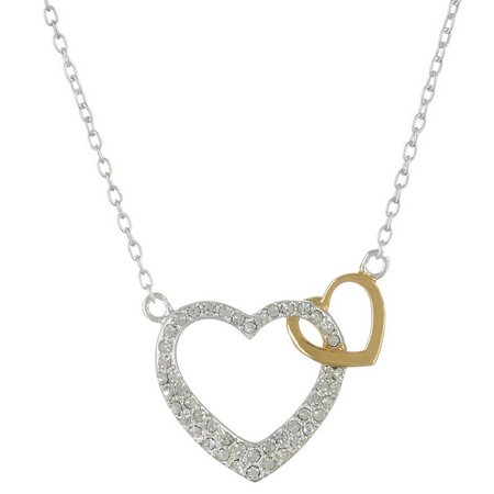Footnotes Two Tone 2 Hearts 1 Love Necklace